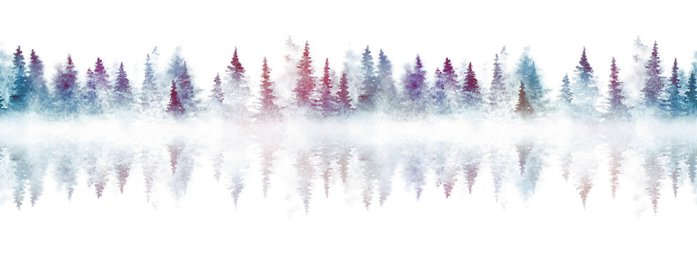 Seamless pattern with foggy spruce forest reflected in a river. Watercolor fir trees isolated on white background.