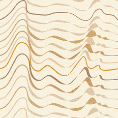 abstract textured waves and horizontal stripes in a linear seamless pattern design of natural, warm colors (off-white, beige, sand, brown, orange)