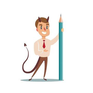 Devil with Pencil. Vector flat design illustration.