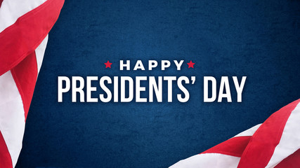 Happy Presidents' Day Typography With American Flags Over Blue Texture Background Wall mural