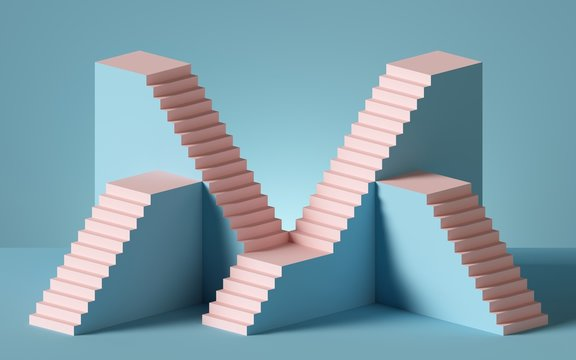 3d rendering of pink staircase isolated on blue background. Blank platform. Minimal concept. Architectural design elements.