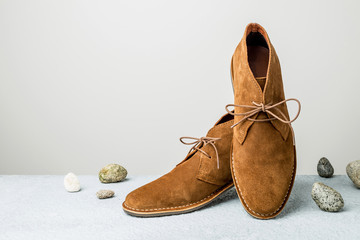 Fashion - men's camel suede desert shoes (boots) on grey
