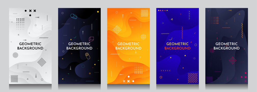 Abstract motion concept backgrounds set. Fluid and liquid template. Memphis pattern. Color shapes. Design elements for banners, posters, invitations, gift cards, stories, covers, flyers, vouchers.