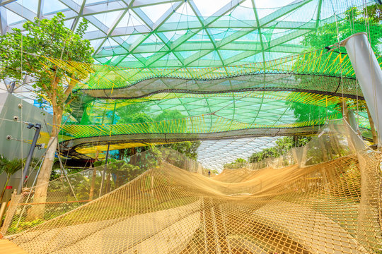 Singapore - Aug 8, 2019: Manulife Sky Nets Bouncing the most fun attraction in Canopy Park in Jewel Changi Airport, a nature-themed with gardens, attractions, retail and restaurants, opened in 2019.