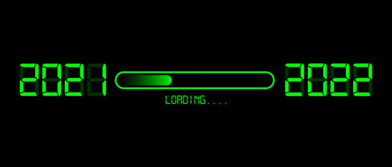Happy new year 2021 with loading to up 2022. Green led neon digital time style. Progress bar almost reaching new year's eve. Vector illustration with display 2022 loading isolated or black background