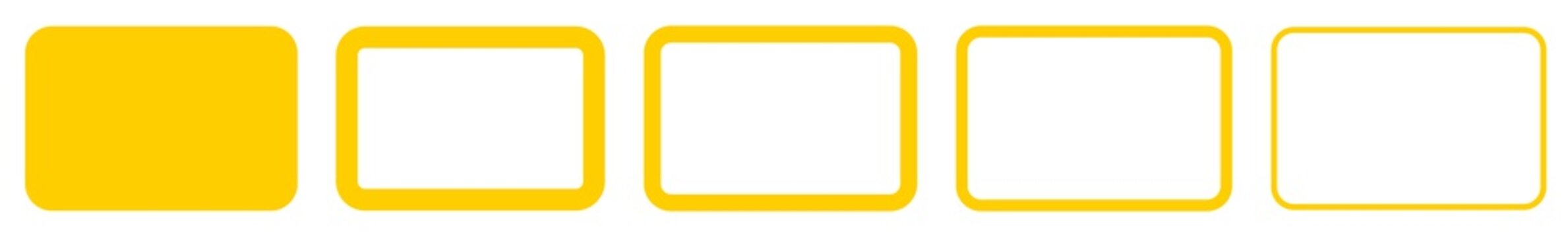 Rectangle Icon Yellow | Rounded Rectangles | Blank Box Symbol | Empty Frame Logo | Button Sign | Isolated | Variations