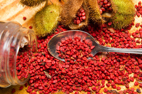 annatto seed orange red condiment and food coloring derived from achiote tree.bixa orellana is used to impart yellow red or orange color to food and for its color and aroma