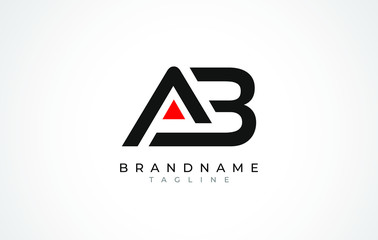A B Logo. AB Letter Logo Design with Black and Red Color.
