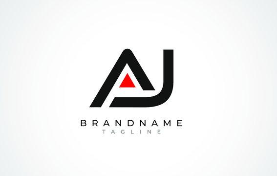 A J Logo. AJ Letter Logo Design with Black and Red Color.