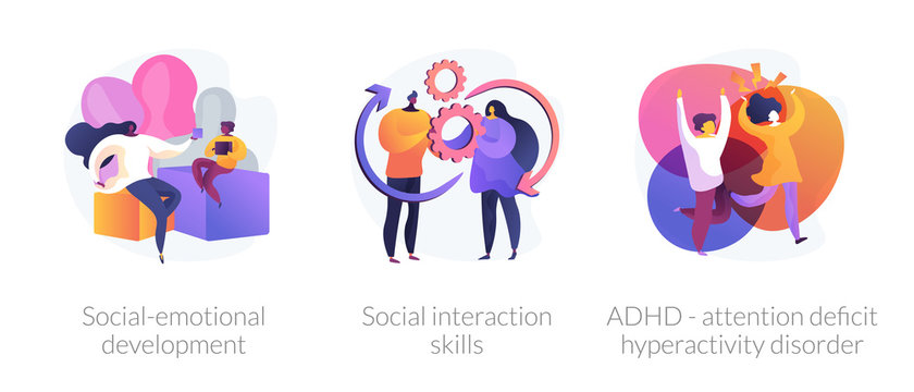 Child psychology icons set. Social-emotional development, social interaction skills, ADHD - attention deficit hyperactivity disorder metaphors. Vector isolated concept metaphor illustrations.