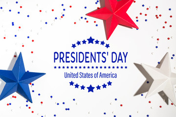 Presidents day message with red and blue star decorations Wall mural