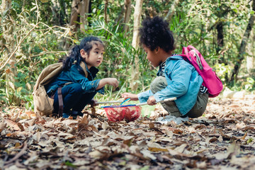 diverse people of asian and african american children playing together in forest during summer camp