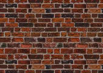 brick wall of red color, wide panorama of masonry,background 3d illustration