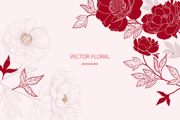 abstract red peony and gold light gradient lines background vector Illustration for card invite , wallpaper. Fototapete