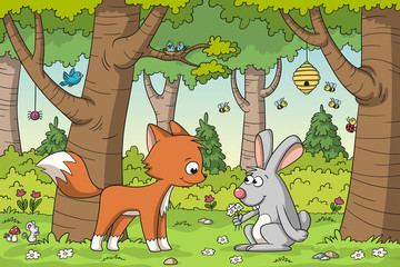 Wall Mural - Fox and rabbit meet in the woods. Vector illustration with separate layers.