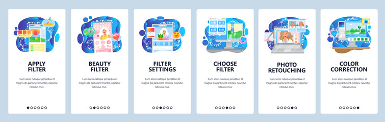 Photo sharing app, filter settings, photo retouch, beauty blog. Mobile app onboarding screens. Menu vector banner template for website and mobile development. Web site design flat illustration