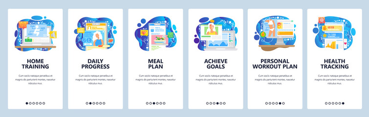Healthcare mobile app, sport training, diet and personal goals. Mobile app onboarding screens. Menu vector banner template for website and mobile development. Web site design flat illustration