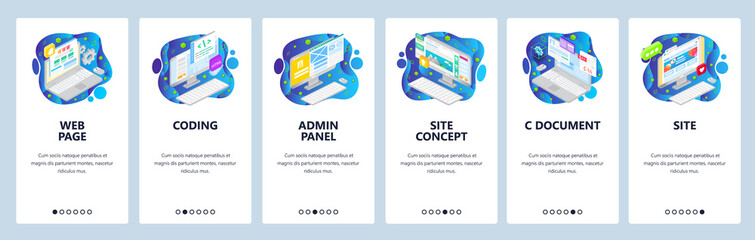 Wall Mural - Coding, web development, admin panel, isometric icons. Mobile app onboarding screens. Menu vector banner template for website and mobile. Web site design flat illustration