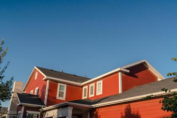 Fototapeta Exterior facade of a colorful red house obraz