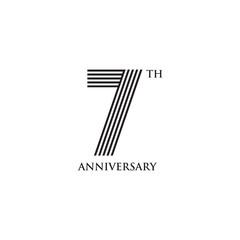 7th year anniversary emblem logo design vector template