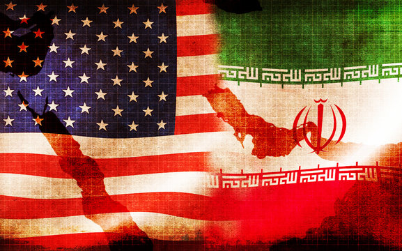 USA and Iran waving grunge flags  (Political conflict , War crisis ) / Mixed with Middle East map
