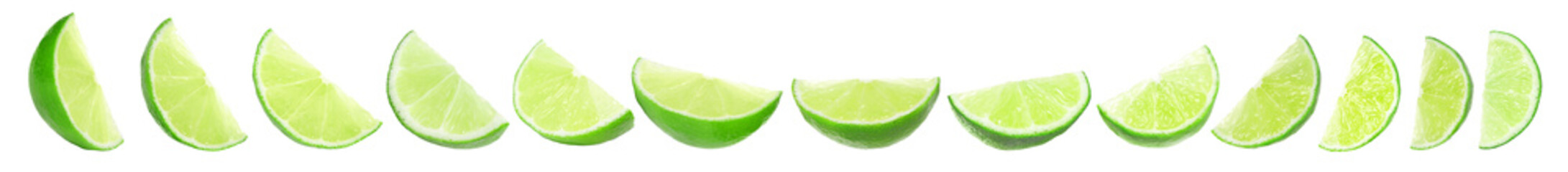 Set of juicy ripe limes on white background. Banner design Wall mural