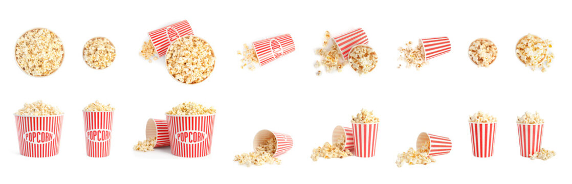 Set of buckets with tasty pop corn on white background. Banner design