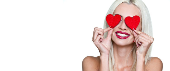 Valentine's day. Happy woman with red hearts in her eyes with a smile on a white background. Isolate. Wallpaper, flyers, invitations, posters, brochures, banners.