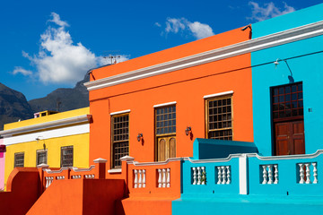 Colored houses in Bo Kapp, a district of Cape Town, South Africa known for it's houses painted in vibrant colors