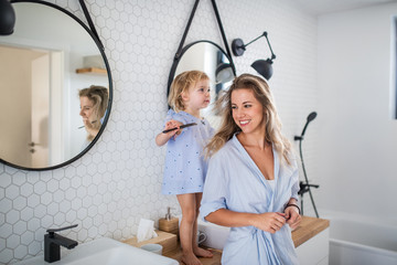 Wall Mural - Young mother with small daughter indoors in bathroom, combing hair.