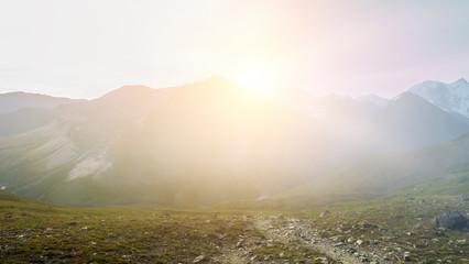 Sun light over mountain top