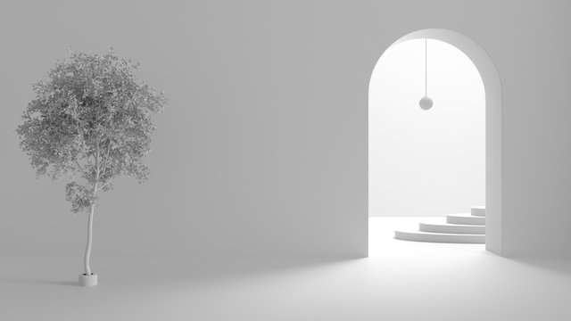 Total white project draft, imaginary fictional architecture, interior design of hall, empty space with arched door, copper lamp, archways, oval staircase in the background, birch tree