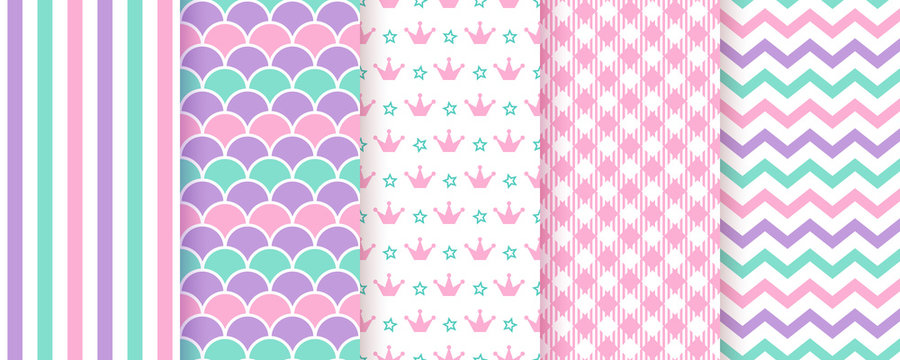 Seamless pattern. Scrapbook background. Vector. Set cute textures with stripe, zigzag, crown and check. Chic packing paper. Trendy pink green purple print. Modern pastel illustration. Color backdrop