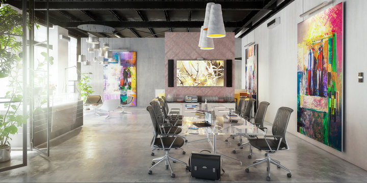 Contemporary Commercial Space Design - panoramic 3d visualization
