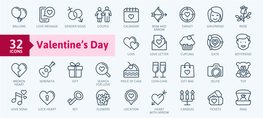 Valentine's Day elements - minimal thin line web icon set. Outline icons collection. Simple vector illustration. Fotomurales