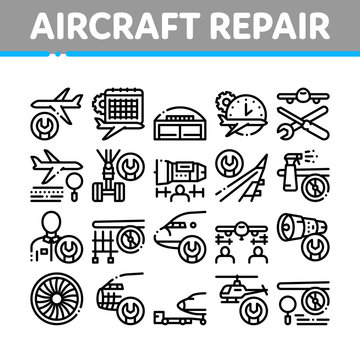 Aircraft Repair Tool Collection Icons Set Vector Thin Line. Aircraft Engine And Chassis, Helicopter And Airplane, Master And Hangar Concept Linear Pictograms. Monochrome Contour Illustrations