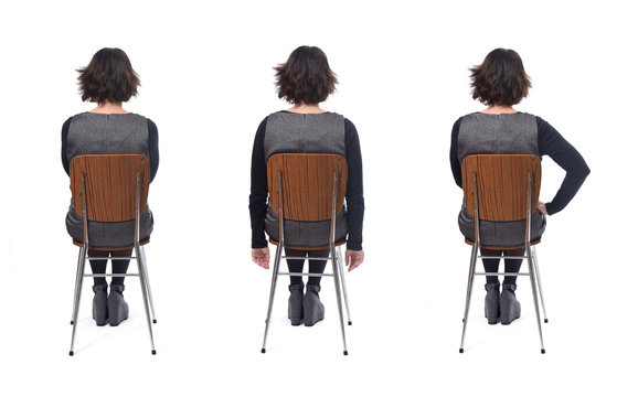 various ways of sitting on a chair rear view, woman with dress