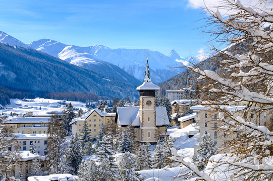 Landscape of winter resort Davos - the home of annual  World Economy Forum Annual meeting.