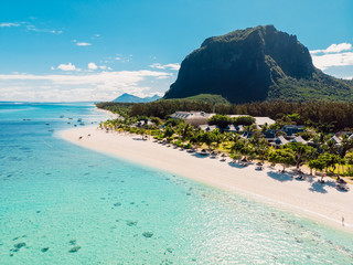 Luxury beach with mountain in Mauritius. Beach with palms and crystal ocean. Aerial view