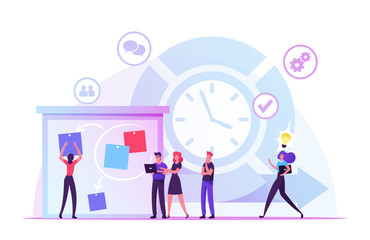 Agile Development Software Methodology Concept. People Sticking Papers on Big Organizer, Planning and Analyzing Working Process, Scrum Task Board Team Work Lifecycle. Cartoon Flat Vector Illustration