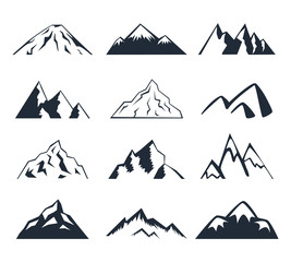 Black and white illustration of mountains.
