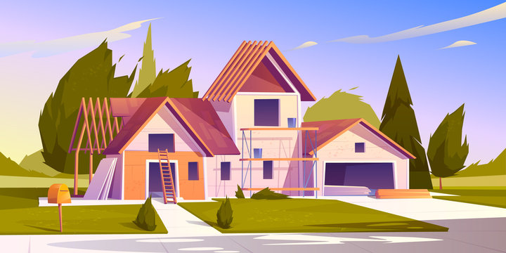 Unfinished house construction. Vector cartoon illustration of construction site, incomplete building of garage and home with wooden frame of roof beams