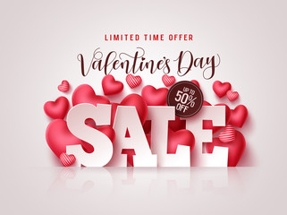 Valentines day sale vector banner. Valentines day sale 3D text with heart shapes elements in white background for discount promotion. Vector illustration.