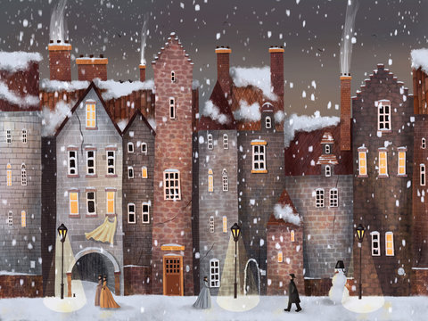 Night or Evening Christmas Winter Street City with Snowfall, women, men, kitten and snowman. Hand drawn illustration.