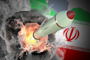 Launch of missile from Iran. 3D rendered illustration.