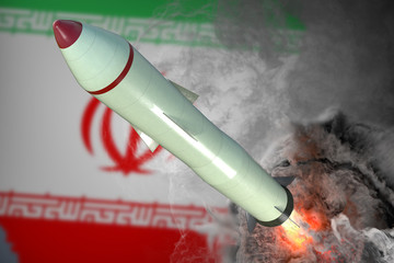 Launch of missile. Iran flag in background. 3D rendered illustration.