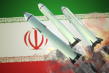 Launch of missiles. Iran flag in background. 3D rendered illustration.