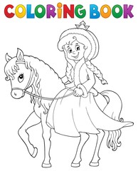 Poster Voor kinderen Coloring book winter princess on horse
