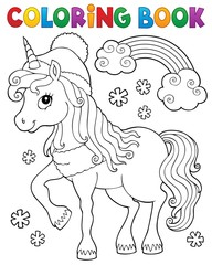 Photo sur Aluminium Enfants Coloring book winter unicorn theme 1