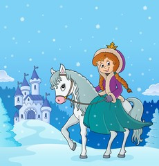 Fotobehang Voor kinderen Winter princess riding horse 3